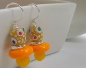 African Earrings - Orange and Yellow Glass & Pearls