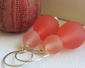 Rose Pink Resin Earrings with Sterling Silver Hooks