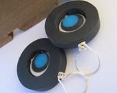 Sterling Silver Earrings - Licquorice Black Resin Beads