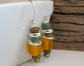 Sunflower Yellow Earrings - Resin, African Glass and Ceramic Earrings