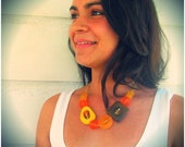 Golden Necklace - Orange Resin and Wood Chunky Beads