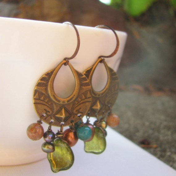 New Leaf Earrings with Brass Charms, Green Glass and Fresh Water Pearl Beads