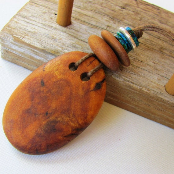 SALE - Natural Woodland Pendant - Australian Recycled Wood and Blue Ceramic Beads