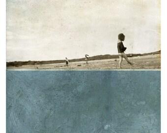 Pole Ocean (Landscape Photography - Fine Art Print - Beach - Child - Silhouette - Painting - Color Block - Cadet Blue)