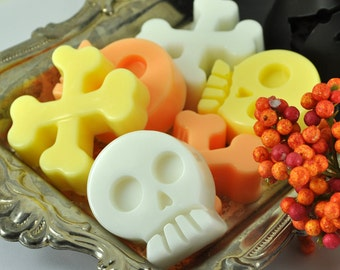 SALE Halloween Soaps - Set of Six Skulls and Crossbones - Candy Corn Scent - HALLOWEEN GIFT