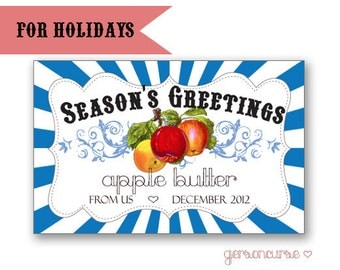 Personalized Holiday Jam or Jelly Label Design - Good for Baptisms, Showers, and Gifts / DIGITAL FILE