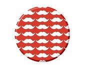 Magnet - White Mustache Pattern on Red Image 2.25""