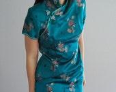 70s teal satin asian / floral print party dress