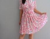 vintage REVIVAL dress / smocked waist dress
