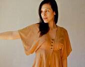 boho VELVET blouse  / 1970s native butterfly sleeve blouse