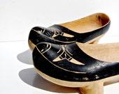 scandinavian DUTCH clogs / hand carved wood PIN STRIPE shoes