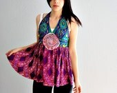 vintage RECONSTRUCTED blouse / 1960s PSYCHEDELIC repurposed halter top