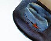 bohemian DENIM cowboy hat / vintage 1960s distressed WESTERN hat