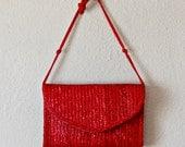 cherry red STRAW purse / 1980s shoulder bag