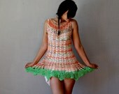 vintage CROCHET dress / 1960s bohemian OPEN STITCH knit dress