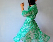 floral PATTERNED dress / semi sheer puff sleeve day dress