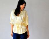 satin KIMONO blouse / lemon cream tie waist FLORAL blouse