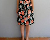 vintage FLORAL skirt  / a line 1970s peach rose skirt