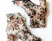 victorian GRANNY boots /  floral TAPESTRY ankle booties NOS