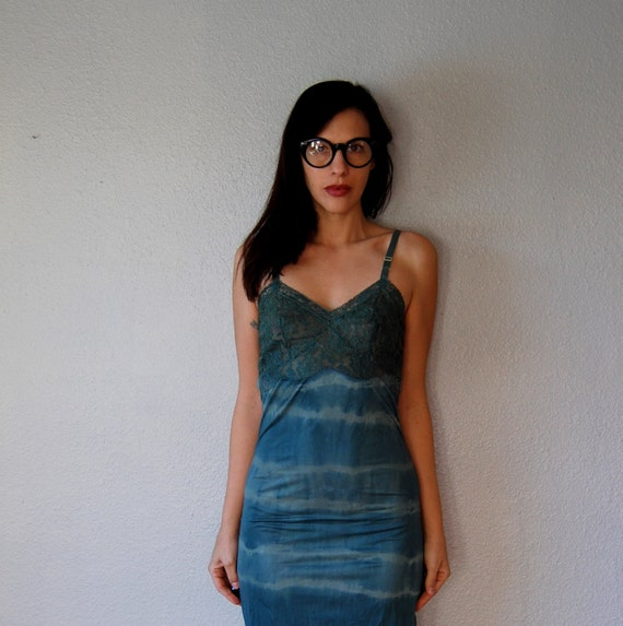 upcycled OPEN BACK slip dress / hand dyed forest green night dress