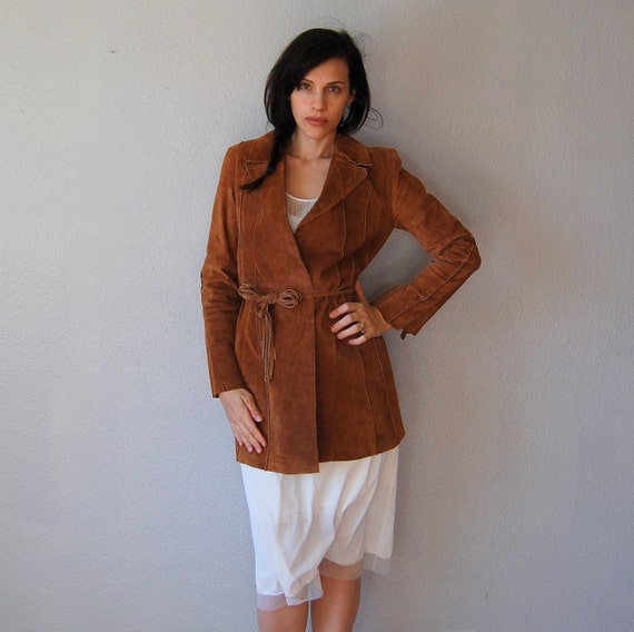 70s TRIBAL suede leather / flared sleeves NATIVE bohemian coat