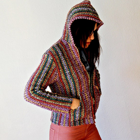 colorful STONER hoody / 1990s grunge mexi poncho