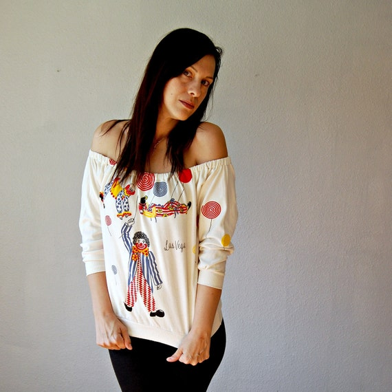 recycled NOVELTY  blouse / off shoulder LAS VEGAS graphic / cream color