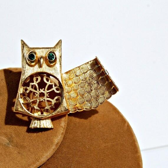 vintage AVON owl / 1970s bye bye birdie LOCKET pendant
