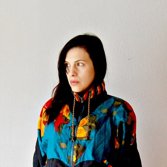 vintage FUNNEL NECK jacket  / 1990s FLORAL wind breaker