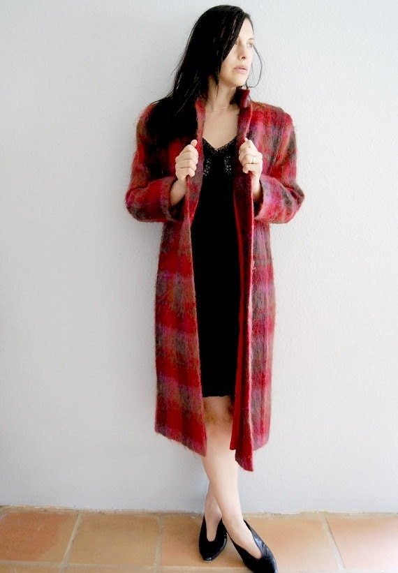 vintage MOHAIR trench / 1980s plaid wool nordstrom coat