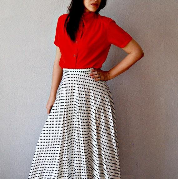 reserved for danni....vintage CHECKERED skirt / 1960s BLACK and WHITE full length skirt