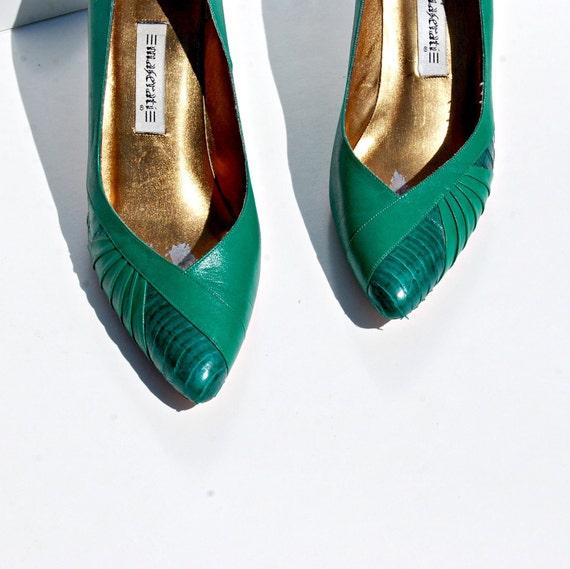 art DECO heel / evergreen leather ITALIAN heel
