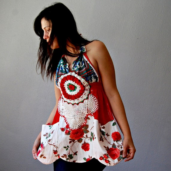 recycled FLORAL halter / rose floral print  empire waist