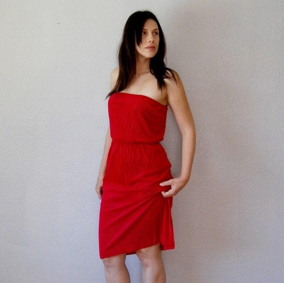 vintage STRAPLESS dress / 1970s knit day dress