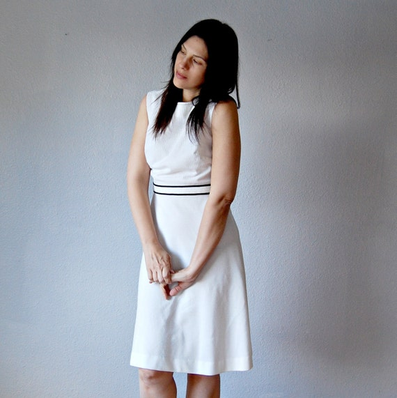 mod SCOOTER dress / ribbed knit bodice off white color
