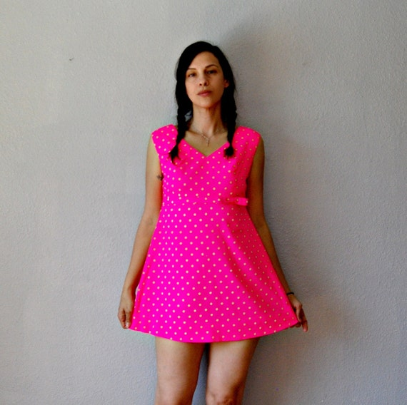 polka DOT micro mini dress / baby doll 1960s neon pink party dress