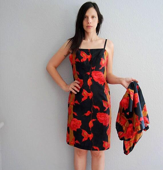ROSE wiggle dress / bright floral print suit dress