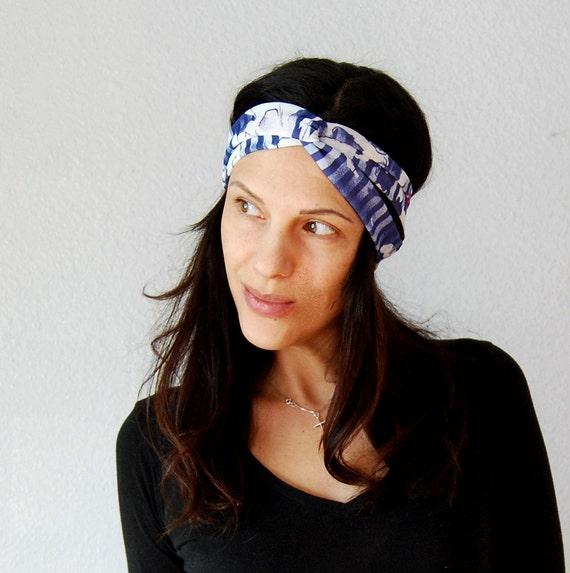 recycled BOHO wrap / striped FLORAL print turban