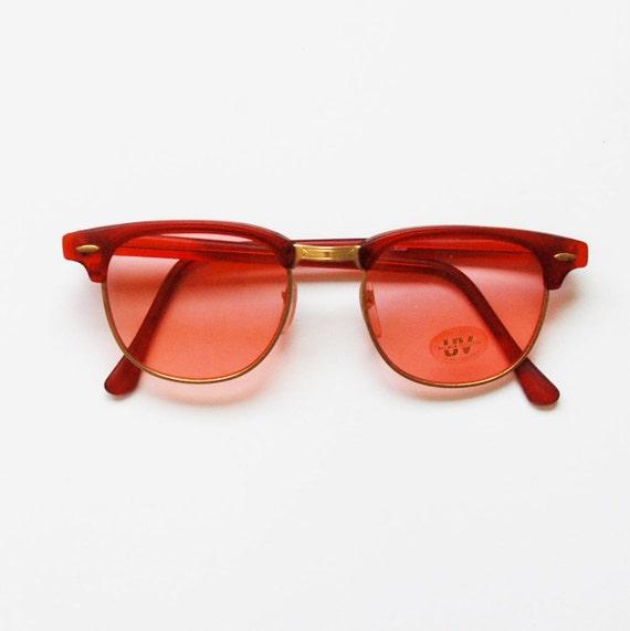 clubmaster WAYFARER sunglasses / vintage 1980s rose tint DEADSTOCK glasses
