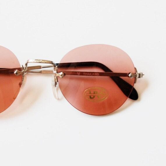 vintage OVAL sunglasses / vintage 1980s blue lenses DEADSTOCK glasses