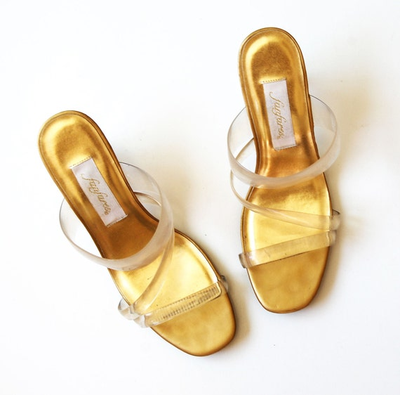 sheer BANDAGE heels / 1980s clear strappy LUCITE heels