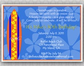 Surfboard Hawaiian Birthday Invitation - Cheeseburger in Paradise - Surfs Up - Printable Party Invitation  - digital