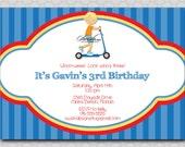 Boy Birthday Invitation - 5x7 printable digital invite - boy razor scooter