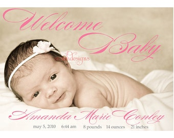 Photo Birth Announcement- Modern Welcome Baby - printable - digital diy girl boy