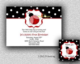 Ladybug first birthday invitation and favor tag - 5x7 jpg -  printable party diy digital polka dot ladybugs