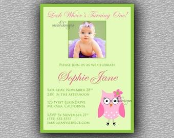 Owl Birthday Invitation - girl - printable invitations - first birthday invite - pink and green - printable diy digital invites 5x7