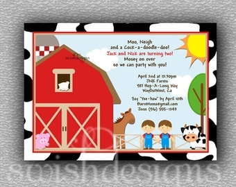 Farm Animal Barn birthday party invitation package 5x7 printable invite party. First birthday.