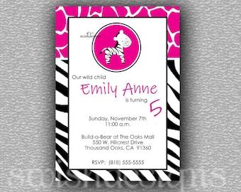 Zebra Birthday invitation | Hip Animal Party Decorations | Digital Download | Printable Invite | Zebra Print | Giraffe Pattern