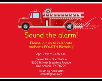 Firetruck Printable Party Invitation Invite - Digital