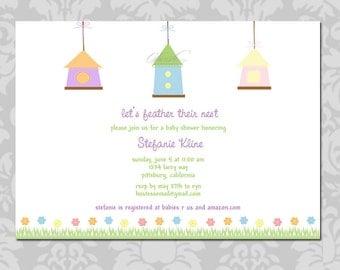 Baby Shower Invitation - Birdhouse Birds - 5x7 digital printable party - gender neutral-birdhouse